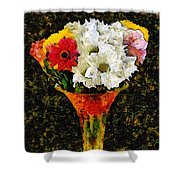 Arrangement In Confetti And Black Shower Curtain