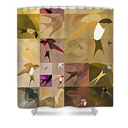Arraygraphy - Birdies Sepia, Part 1 Shower Curtain