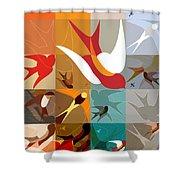 Arraygraphy - Birdies Triptych Part2 Shower Curtain