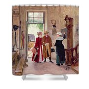 Arrival At The Inn Shower Curtain by Charles Edouard Delort