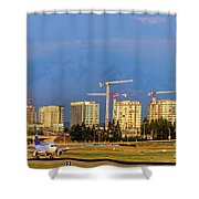 Arrival By Air Shower Curtain