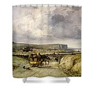Arrival Of A Stagecoach At Treport Shower Curtain