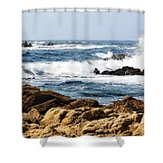 Arriving Tide At Pebble Beach Shower Curtain