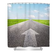 Arrow Sign Pointing Forward On Long Empty Straight Road Shower Curtain