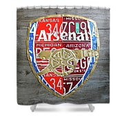 Arsenal Football Team Emblem Recycled Vintage Colorful License Plate Art Shower Curtain