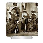 Art Class Oil Painting Teacher  And Art Students 1900 Shower Curtain