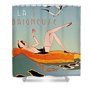 Art Deco Beach Bather Shower Curtain