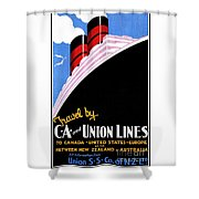 Art Deco Ocean Travel New Zealand Shower Curtain