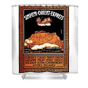 Art Deco Orient Express Advertising Athens Shower Curtain