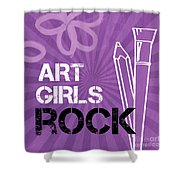 Art Girls Rock Shower Curtain by Linda Woods