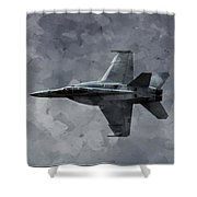 Art In Flight F-18 Fighter Shower Curtain by Aaron Lee Berg