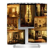 Art Institute Of Chicago Miniature Room Collage Textured Shower Curtain