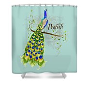 Art Nouveau Peacock W Swirl Tree Branch And Scrolls Shower Curtain