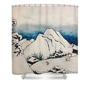 Art Of Japan And The Two Paths Of Shintoism And Buddhism - Holy Men In The Snow Without Abraham Shower Curtain