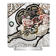 Art Violin And Roses Pearlesqued In Fragments  Shower Curtain
