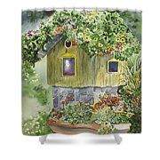 Artful Birdhouse Shower Curtain