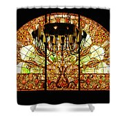 Artful Stained Glass Window Union Station Hotel Nashville Shower Curtain by Susanne Van Hulst