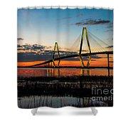 Arthur Ravenel Bridge Twilight Shower Curtain