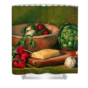 Artichoke And Radishes Shower Curtain