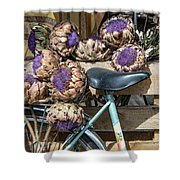 Artichoke Flowers With Bicycle Shower Curtain
