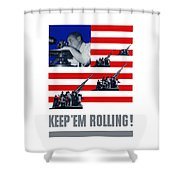 Artillery -- Keep 'em Rolling Shower Curtain