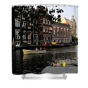 Artist On Amsterdam Canal Shower Curtain