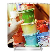 Artist Reaching For A Liquid Paint Container. Shower Curtain