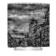 Artistic Bass Harbor Lighthouse In Acadia Shower Curtain