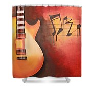 Artistic Guitar With Musical Notes Shower Curtain