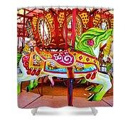Artistically Textured Carousel Shower Curtain