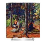 Artists In The Woods Shower Curtain