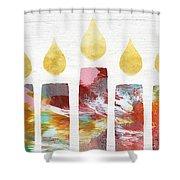 Artists Menorah- Art By Linda Woods Shower Curtain