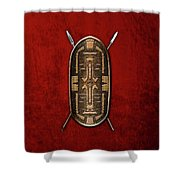 Zande War Shield With Spears On Red Velvet  Shower Curtain