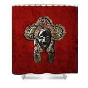 Dan Dean-gle Mask Of The Ivory Coast And Liberia On Red Velvet Shower Curtain by Serge Averbukh