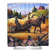 Raking Hay Field Rustic Country Farm Folk Art Landscape Shower Curtain