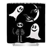 Halloween Bats Ghosts And Cat Shower Curtain