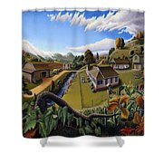 Appalachia Summer Farming Landscape - Appalachian Country Farm Life Scene - Rural Americana Shower Curtain