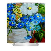 Flowers In A White Vase Shower Curtain