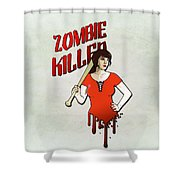 Zombie Killer Shower Curtain by Nicklas Gustafsson