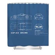 Blueprint Ferrari Dino 1965 Shower Curtain