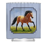 Buckskin Horse - Morning Run Shower Curtain by Crista Forest
