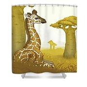 Giraffe And Savanna Shower Curtain