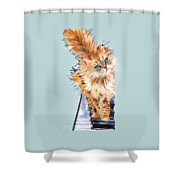 Cat Orange Shower Curtain