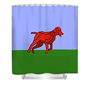 Cartoon Romping Miniature Apricot Poodle Shower Curtain