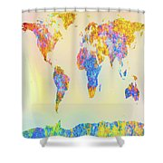 Abstract Earth Map 2 Shower Curtain