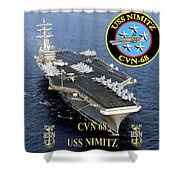 Cvn-68 Uss Nimitz  Shower Curtain