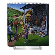 Porch Music And Flatfoot Dancing - Mountain Music - Appalachian Traditions - Appalachia Farm Shower Curtain