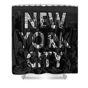 New York City - Black Shower Curtain