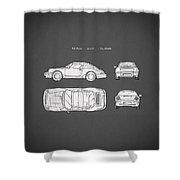 Porsche 911 Cabriolet Patent Shower Curtain