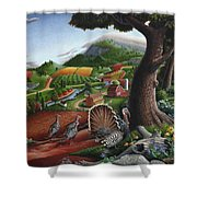 Wild Turkeys Appalachian Thanksgiving Landscape - Childhood Memories - Country Life - Americana Shower Curtain by Walt Curlee